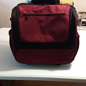 Rick Steves Burgundy/Black rolling travel/book bag